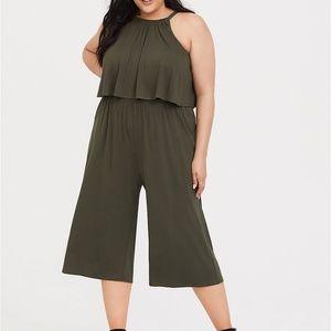 Torrid Jumpsuit Culotte Romper Olive Green Size 4